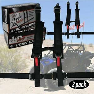 2 Pack Polaris Rzr 4 Pt Harness E4 Certified 2 Thick Padding