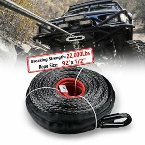 92 1 2 Synthetic Winch Rope 22 000lbs Recovery Line Cable Protective Sleeve