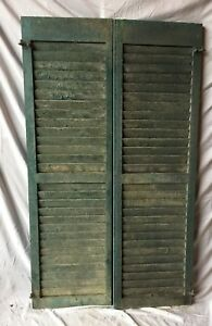 Pair Antique House Window Louvered Shutters 18x59 Shabby Vintage Chic 332 18c