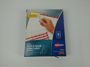 Avery Index Maker Clear Label Dividers 8 tabs Multi color Tabs 25 Sets 11993