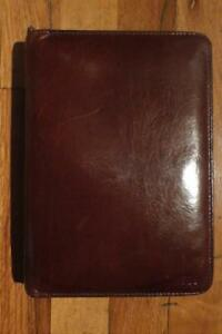 Bosca Hand Stained Cowhine zipper day Planner portfolio notebook credit Card Id