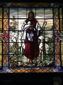 Antique Stained Glass Religious Jesus And The Lamb Window 65 5 X 59 75