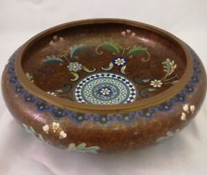 Chinese Antique Brass Cloisonne Enamel Famille Rose Brush Wash With Mark