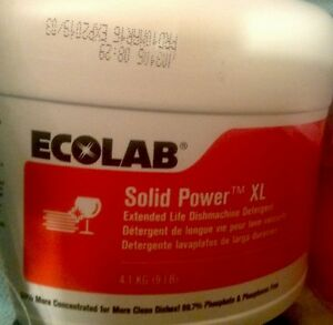 Case Of Ecolab 6100185 Solid Power Xl With Glass Guard Dishwashing Detergent