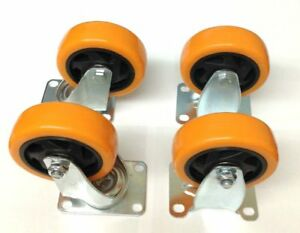 Heavy Duty 4 Caster Plate Polyurethane 2 Swivel And 2 Fixed Wheels