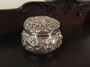 Sale Jacobi Jenkins Sterling Silver Repousse Floral Vanity Jar Powder Box