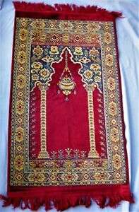 Vintage Turkish Prayer Rug Burgundy Blue Ground Floral Motifs Silk Cotton