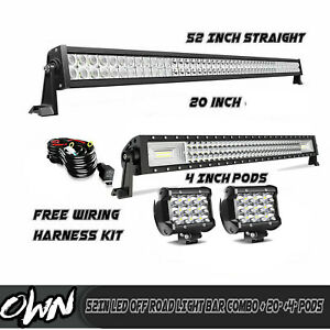 52in Led Off Road Light Bar Combo 20 4 Cree Pods Suv 4wd Atv Dodge Ford 50