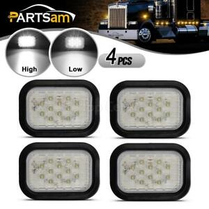 4xwhite 12led Rectangular Stop Turn Tail Reverse Sealed Lights Flush Mount 5 X3