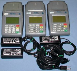 Lot Of 3 First Data Fd100 Pos Credit Card Reader Terminals Power Supplies
