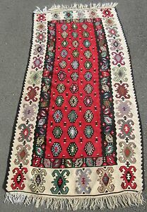 Antique Country House Turkish Anatolian Konya Kilim Kelim Rug 100 Years Old
