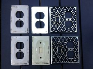 Lot Of Vintage Electrical Switch Plates Outlet Covers Mirror Ceramic Japan 1970s