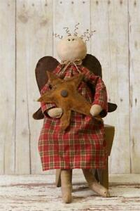 New Primitive Country Grungy Folk Art Angel With Star Doll 18