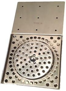 Stainless Steel Drip Tray counter Mount With Glass Rinser And Drain Krome C360