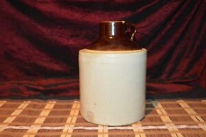 Vintage Pottery 1 Gallon Two Tone Clay Jug Wide Mouth 10 1 8 X7 3 8