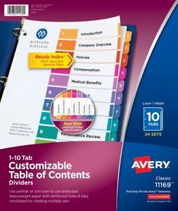 Avery Ready Index Uncollated 10 tab Table Of Contents Dividers 24 Sets