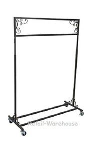 Clothing Rack Single Rail Vintage Style Salesman Rolling 48 X 20 X 48 66 H