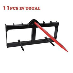 11pcs 49 3000 Lbs Tractor Hay Spear Attachment Spike Skid Steer
