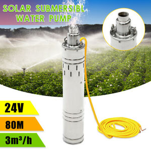 80m Dc 24v 3m h Solar Powered Water Pump Lift Submersible Bore Hole Deep Well