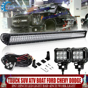 Tri Row 54inch Curved Led Light Bar Combo Offroad 4wd Truck Atv Car Boat 52 50
