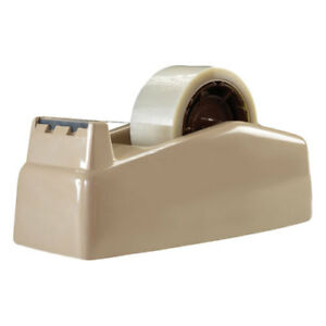 Two roll Desktop Tape Dispenser 3 Core High impact Plastic Beige