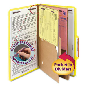 Pressboard Folders With Two Pocket Dividers Legal Six section Yellow 10 box