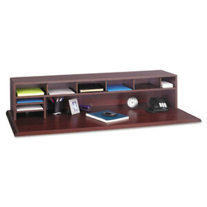 Low profile Desktop Organizer 10 Sections 57 1 2 X 12 X 12 Mahogany