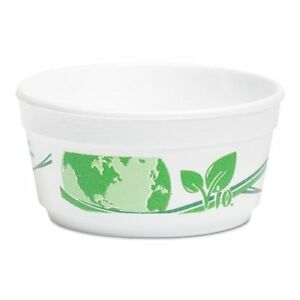 Vio Biodegradable Food Containers 8 Oz Bowl Foam White green 500 carton
