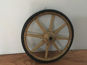 Antique Primitive Wood Wooden Wagon Wheel 9