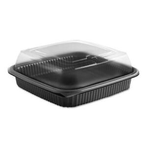 Culinary Squares 2 piece Microwavable Container 36oz Clear black 2 91