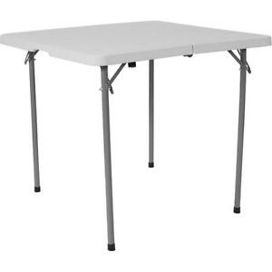 34 Square Bi fold Granite White Plastic Folding Table With Carrying Handle