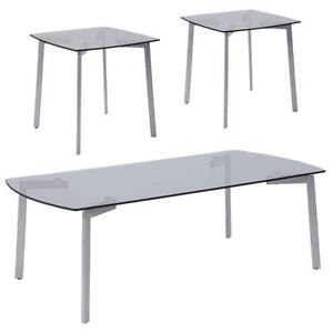 Brighton Collection 3 Piece Coffee And Square End Table Set With Smoked