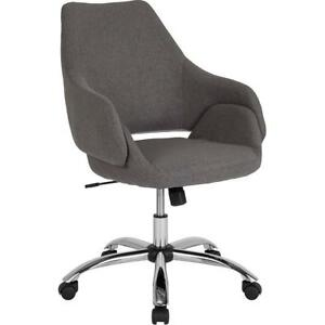Madrid Home And Office Upholstered Mid back Chair In Dark Gray Fabric