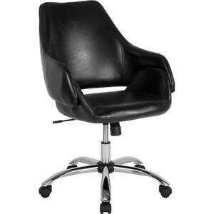 Madrid Home And Office Upholstered Mid back Chair In Black Leather