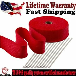 Red 2 X 50ft Exhaust Header Fiberglass Heat Wrap Tape W 10 Steel Ties Kit Us
