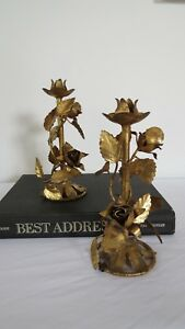 Vintage Italian Gold Roses Tole Candleholders Pair Mcm Chic