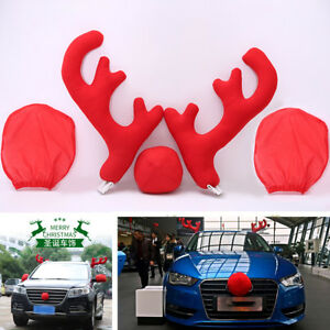 Christmas Reindeer Antlers Red Nose Set Kit Car Vehicle Decor Costume