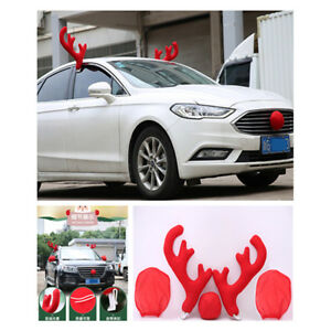 1 Set Christmas Reindeer Antlers Red Nose Mirror Cover Car Vehicle Decor