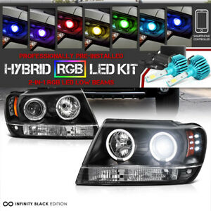 Color Changing Led Low Beam 99 04 Jeep Grand Cherokee Wj Wg Led Halo Headlight