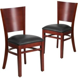 2 Pk Lacey Series Solid Back Mahogany Wooden Restaurant Chair Black Vinyl