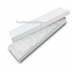 The Display Guys Pack Of 25 White 8x2x1 Inches Cotton Filled Paper Jewelry Box
