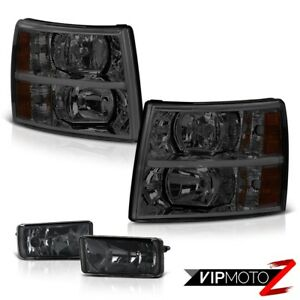 Chevy 07 13 Silverado 1500 2500 3500 L R Smoke Headlamp Fog Lights Top 1 Combo