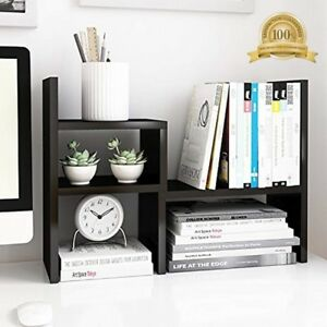 Desktop Organizer Adjustable Wood Display Shelf Office Storage Rack Black