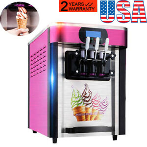 3 Flavors Soft Ice Cream Making Machine 20l h Stainless Steel 2000w Fron Usa
