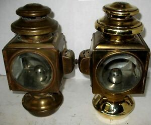 Pair Of All Brass 2 Tier E J Side Lamps 1909 12 Model T Ford Hupmobile Stanley