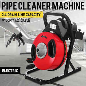 50 x1 2 Drain Cleaner 250w Drain Cleaning Machine Snake Sewer Clog W Cutter