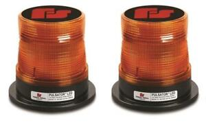 Pair Of Federal Signal Pulsator Class 1 Led Beacons Amber For Truck Work Zone