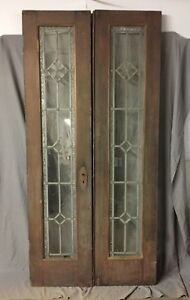 Pair Antique Double French Doors Leaded Glass Vintage 83x20 378 18c