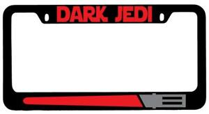 Dark Jedi Red Black Metal License Plate Frame Star Wars