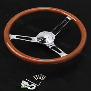 Wooden Grain Silver Brushed Spoke Steering Wheel Classic Wood Horn Kit 15inch